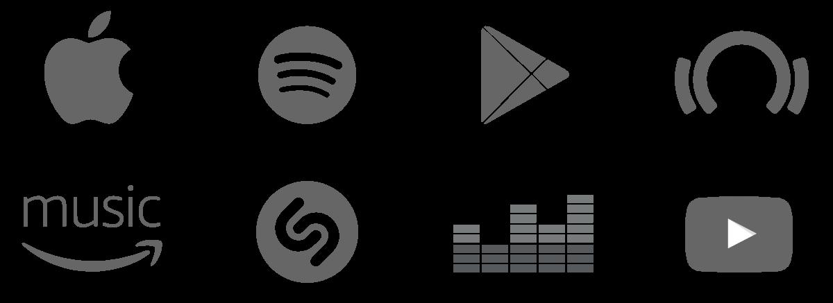 Apple Music, Spotify, Google Play, Beatport, Amazon Music, Shazam, Deezer, YouTube